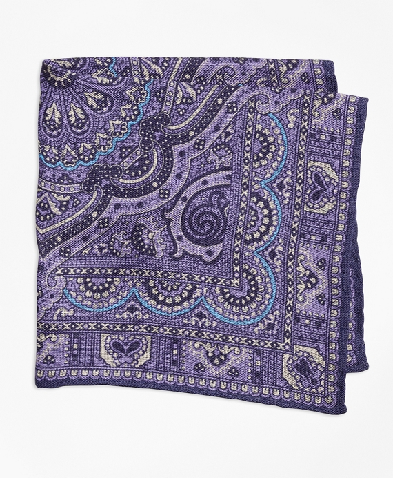 Double-Sided Paisley Pocket Square Purple