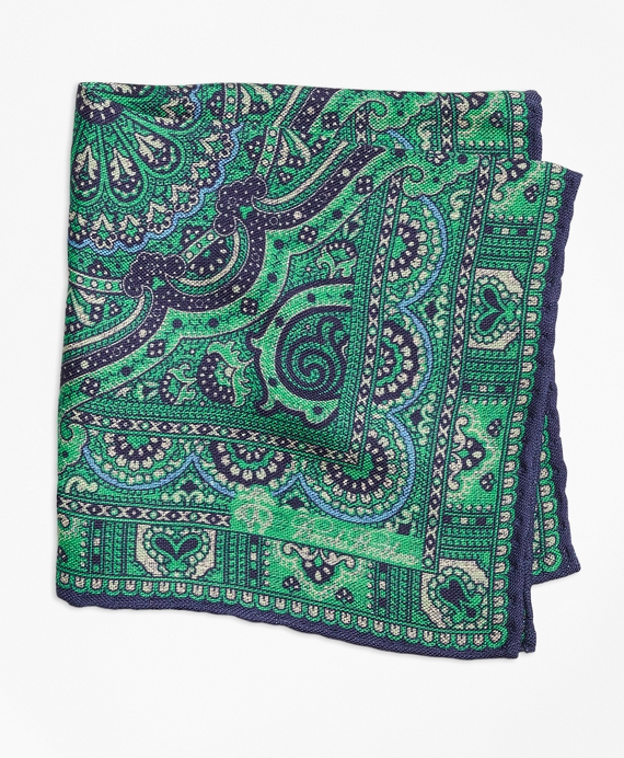 Double-Sided Paisley Pocket Square Teal