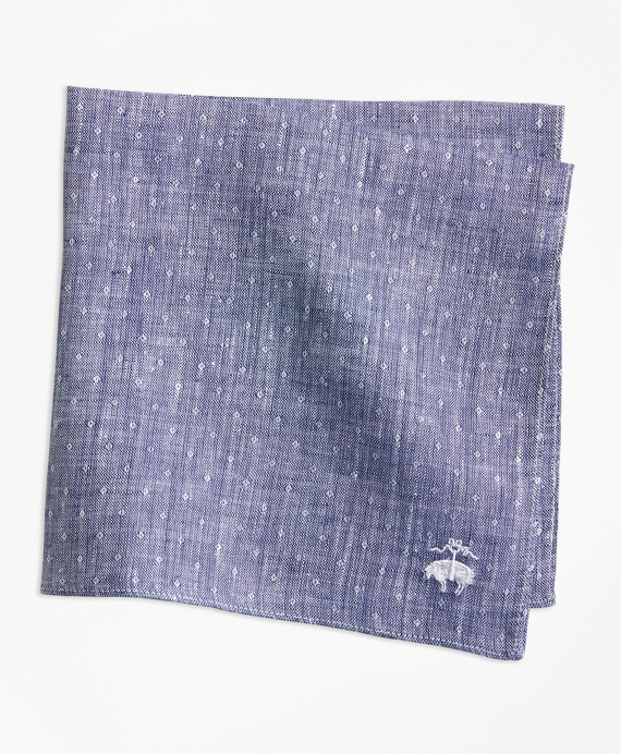 Dot Irish Linen Pocket Square Navy