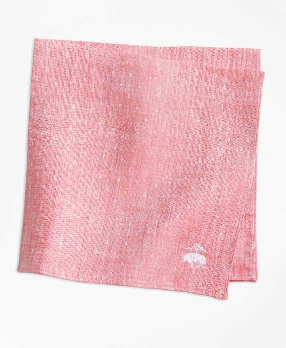 Dot Irish Linen Pocket Square Pink