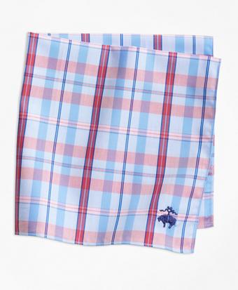 Supima® Cotton Vertical Plaid Pocket Square