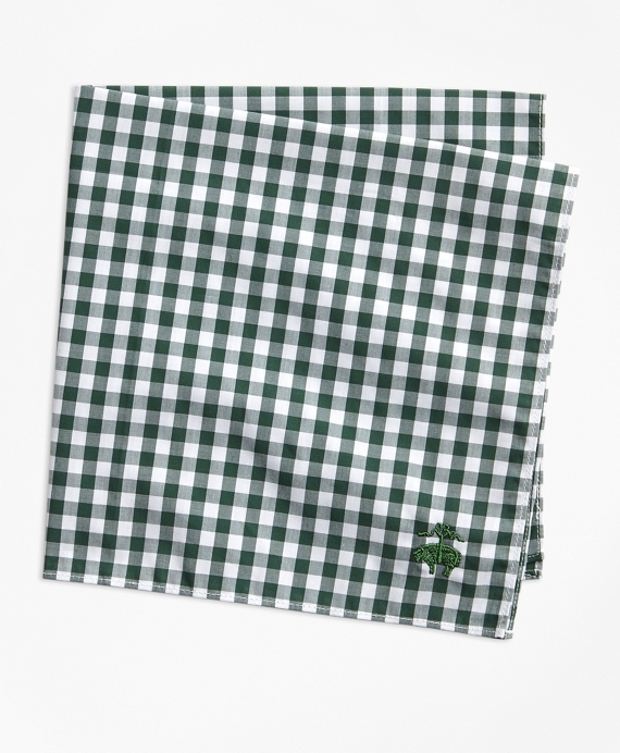 Gingham Pocket Square Green