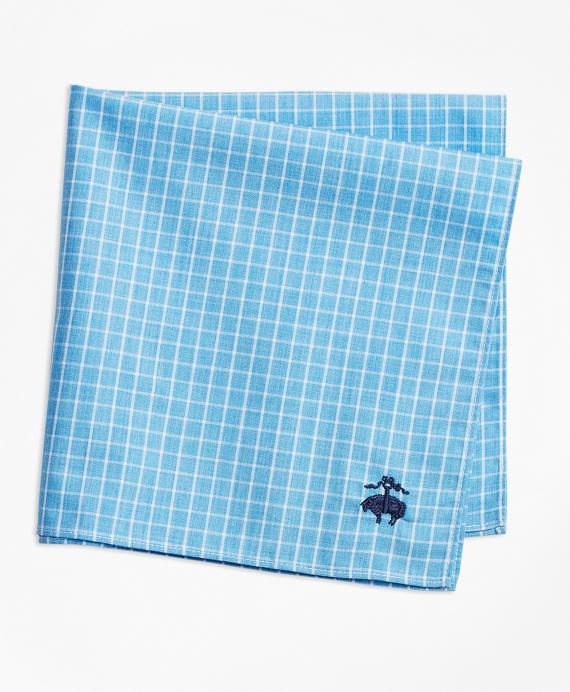 Windowpane Pocket Square Blue