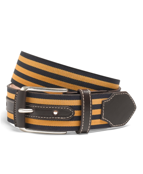 Leather and Grosgrain Striped Belt Navy-Yellow