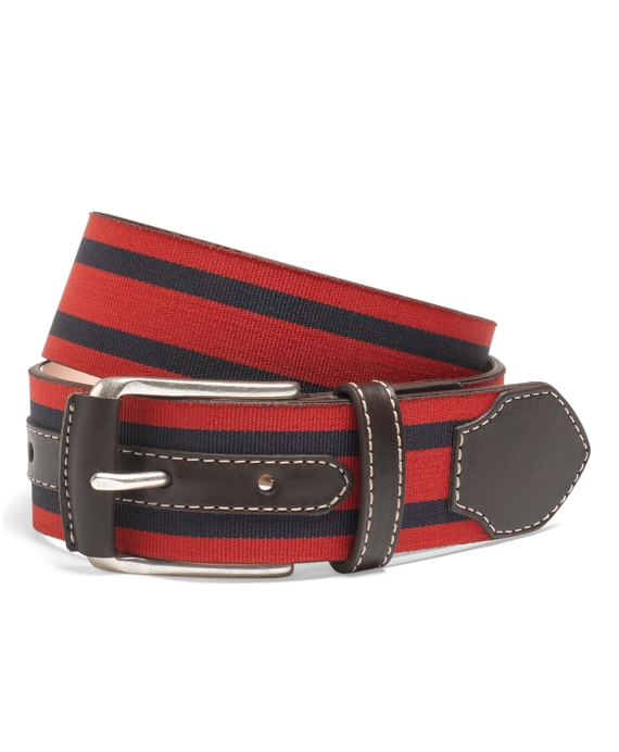 Leather and Grosgrain Striped Belt Red-Navy