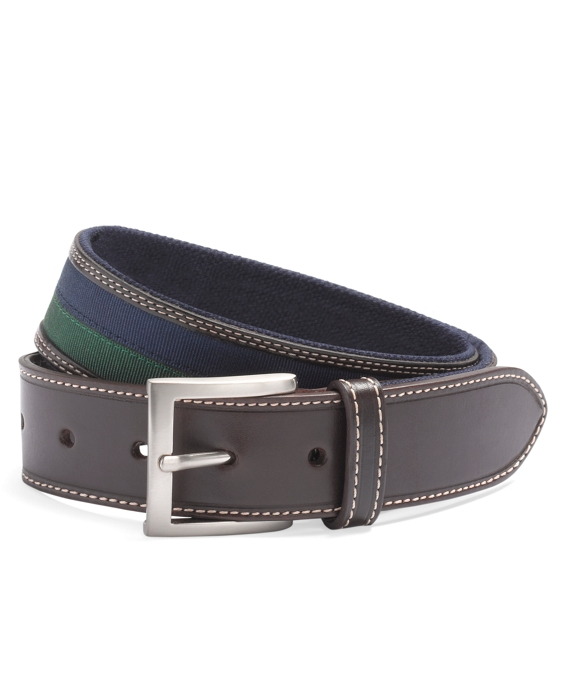 Grosgrain Leather Belt Navy-Green