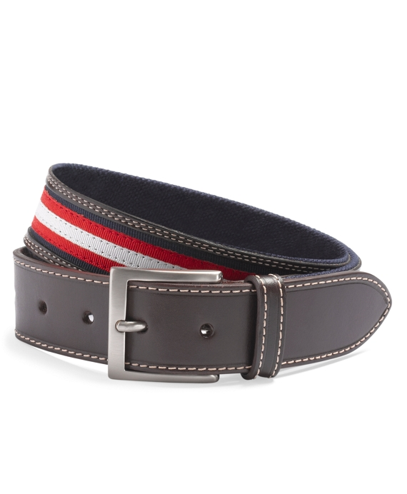 Grosgrain Leather Belt Navy Multi