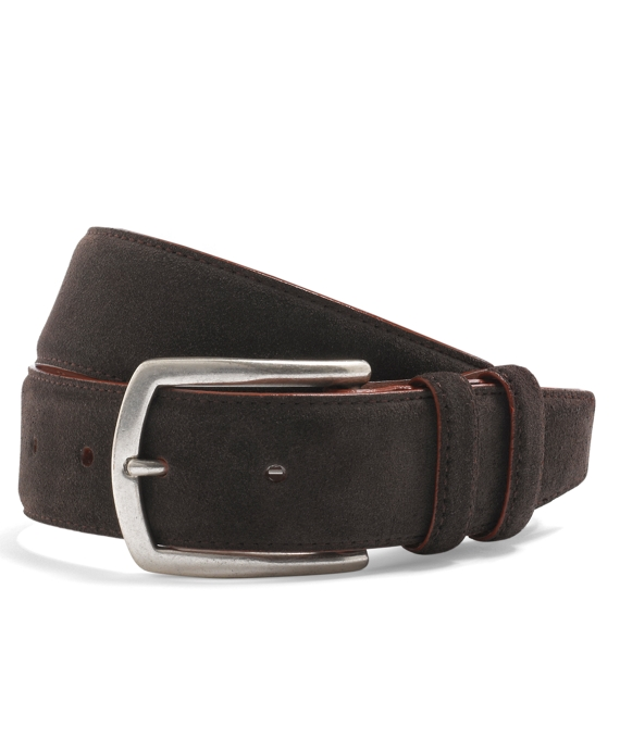 Edge Painted Suede Belt Dark Brown-Orange