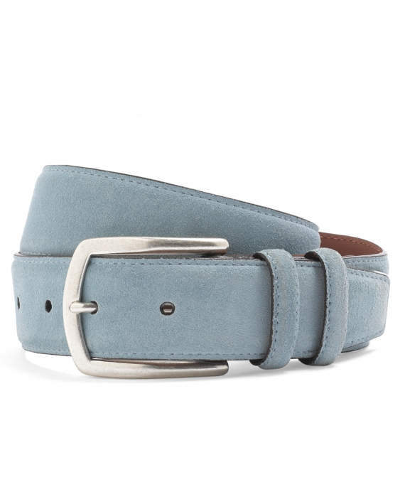 Edge Painted Suede Belt Light Blue-Brown