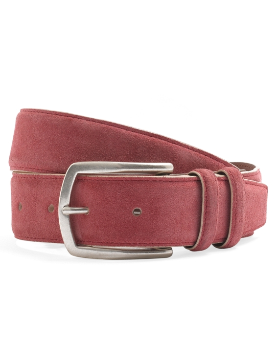 Edge Painted Suede Belt Red-Tan