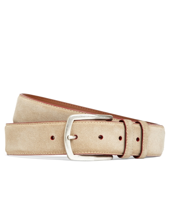 Edge Painted Suede Belt Tan-Red
