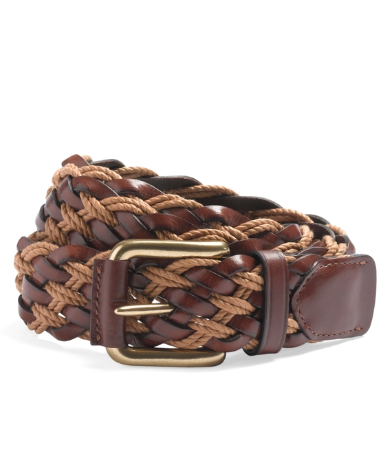 Leather and Cotton Braided Belt Light Brown