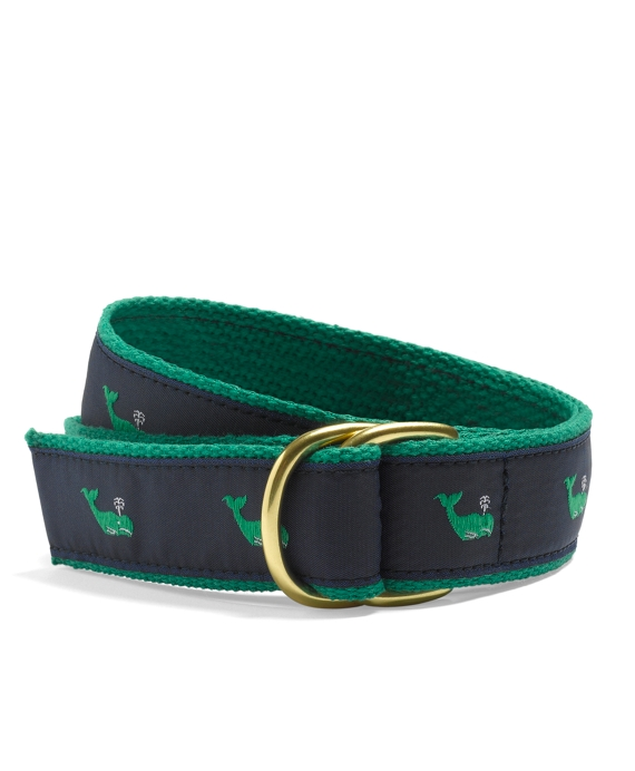 Whale Embroidered D-Ring Belt Navy-Green
