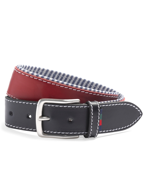 Leather Boat Shoe Belt Red-Blue
