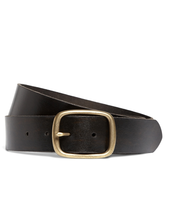 Distressed Leather Oval Buckle Belt Brown