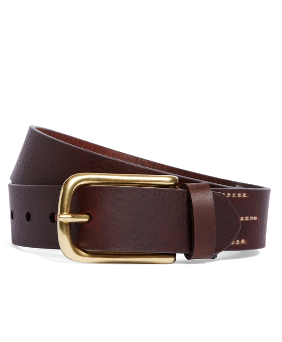 Triple Stitch Calfskin Belt Brown