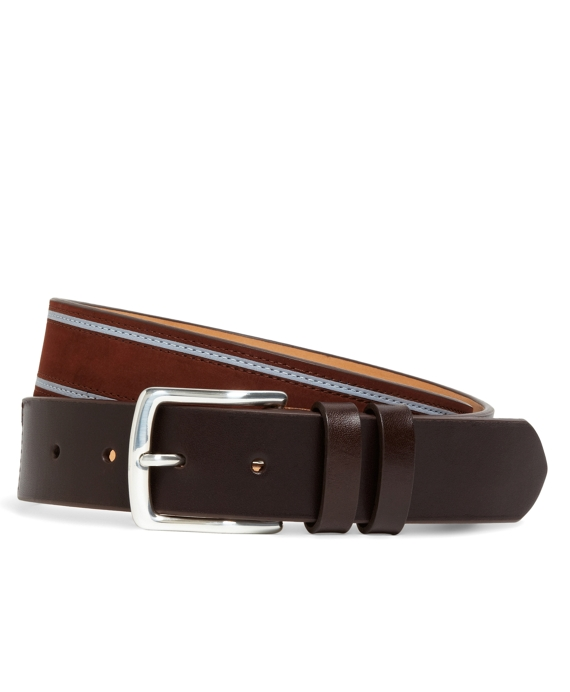 Calfskin Leather Stripe Belt Brown