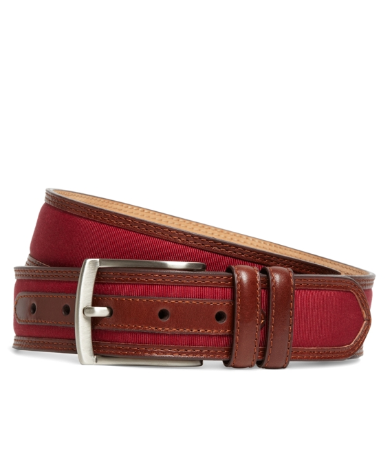 Grosgrain and Leather Belt Burgundy