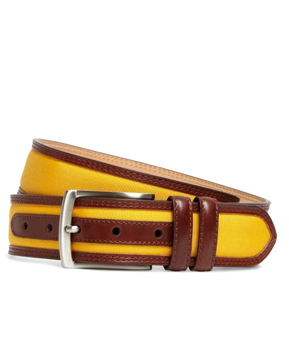 Grosgrain and Leather Belt Gold