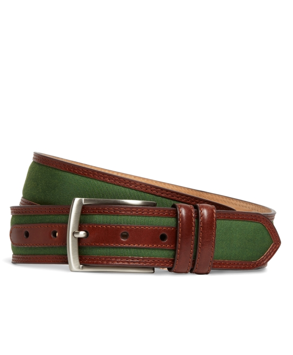 Grosgrain and Leather Belt Green