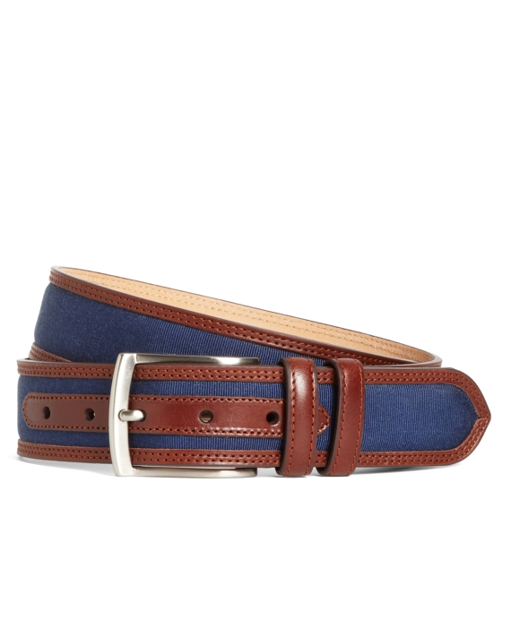 Grosgrain and Leather Belt Navy