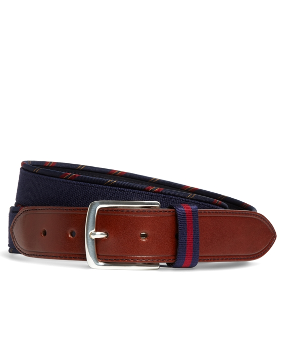 Country Club Leather and Stripe Grosgrain Trim Belt Navy