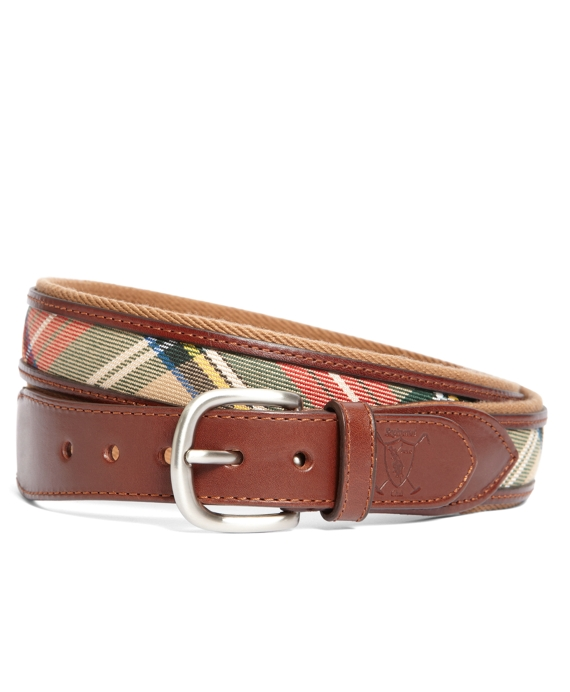 Tartan Belt with Leather Trim Tan