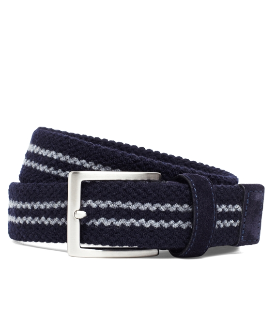 Wool Double-Stripe Woven Belt Navy