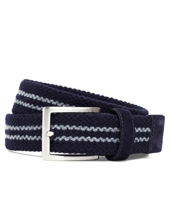 Wool Double-Stripe Woven Belt Navy