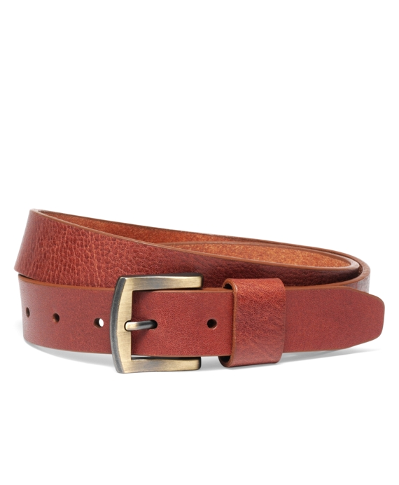 Leather Belt with Engraved Metal Plate/Stamp Brown