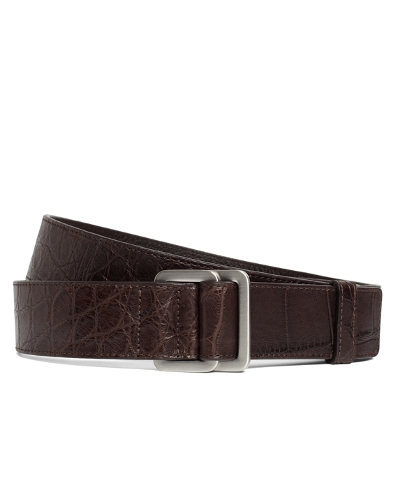 Alligator Square Ring Belt Brown