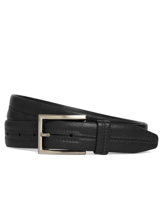 Center Stitch Leather Belt Black