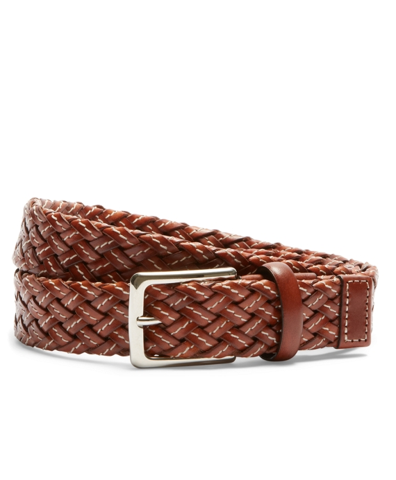 Woven Leather Belt Brown