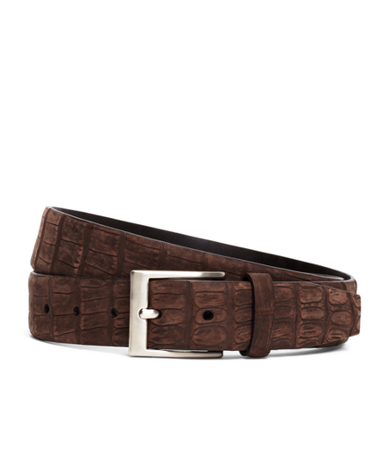 Sueded Crocodile Leather Belt