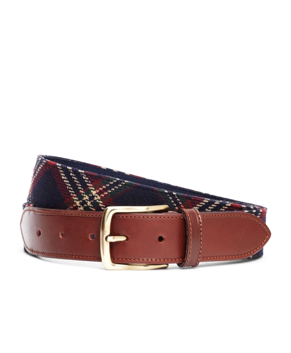 Signature Tartan Wool Belt Navy