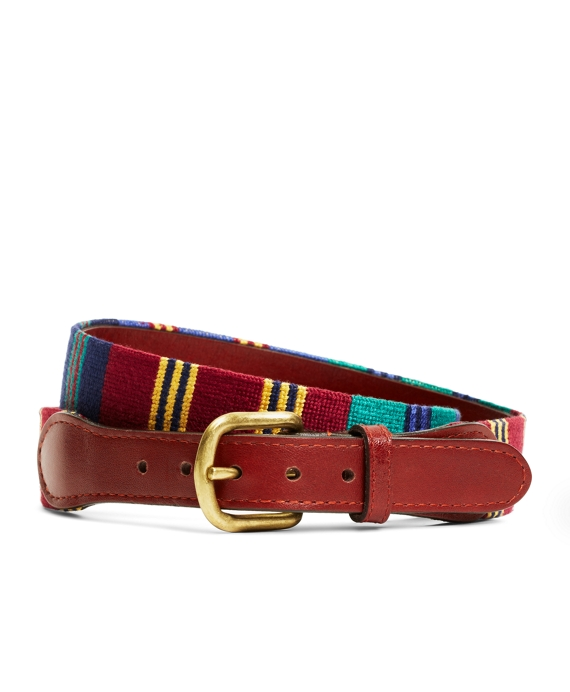 Repp Stripe Needlepoint Belt Navy Multi
