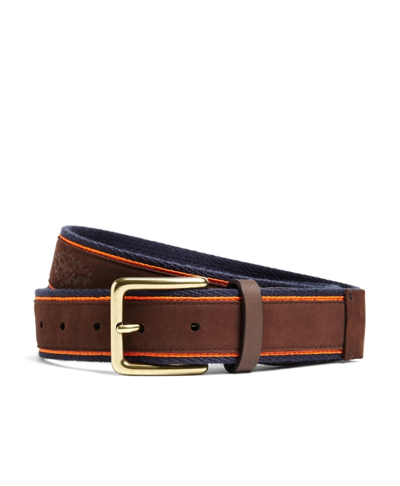 Southwest Embossed Leather Belt Brown