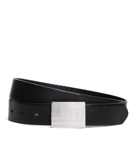 Plaque Buckle Calfskin Leather Belt Black
