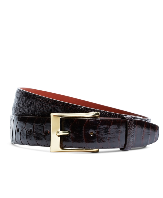 Brown Ostrich Leather Belt Brown