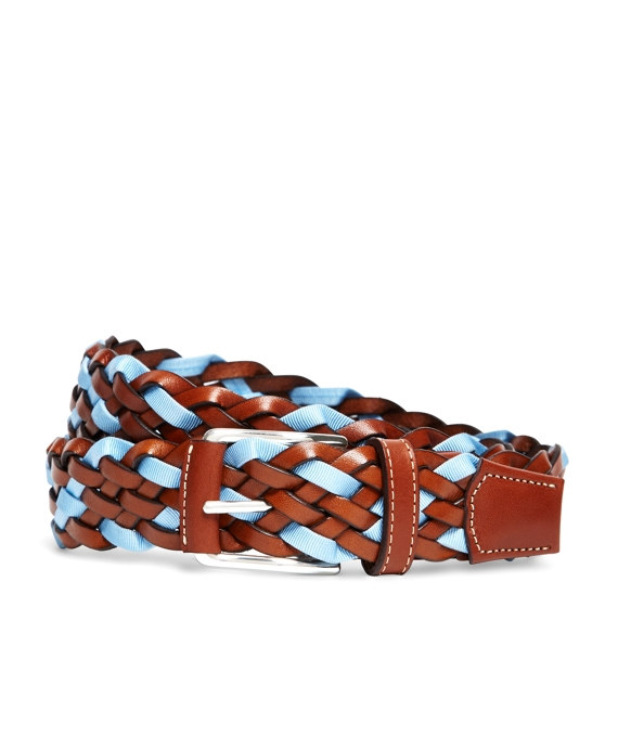 Brown with Light Blue Ribbon Leather Braided Belt Brown-Light Blue