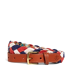 Kiel James Patrick White, Blue and Coral Braided Belt