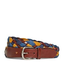 Cotton and Leather Woven Belt