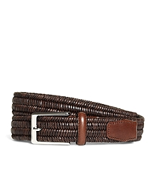 Woven Leather Stretch Belt