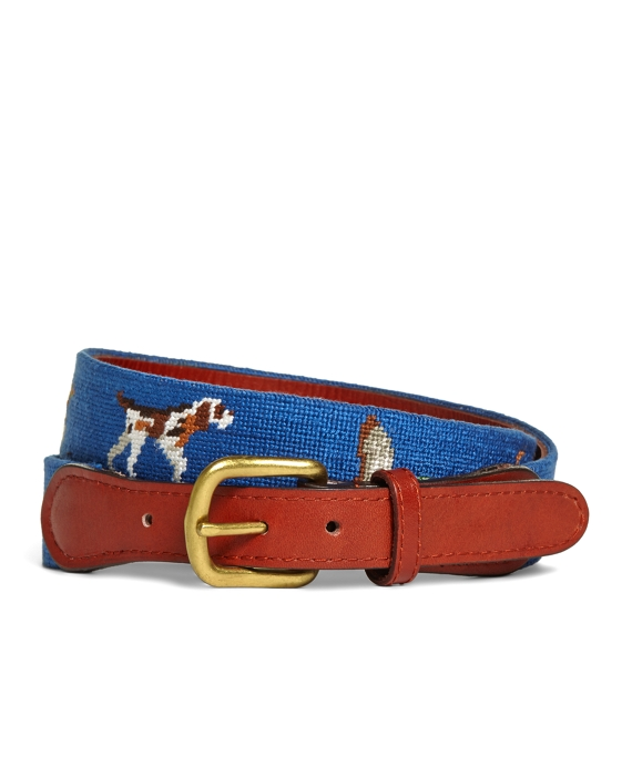 Duck Hunting Needlepoint Belt Blue