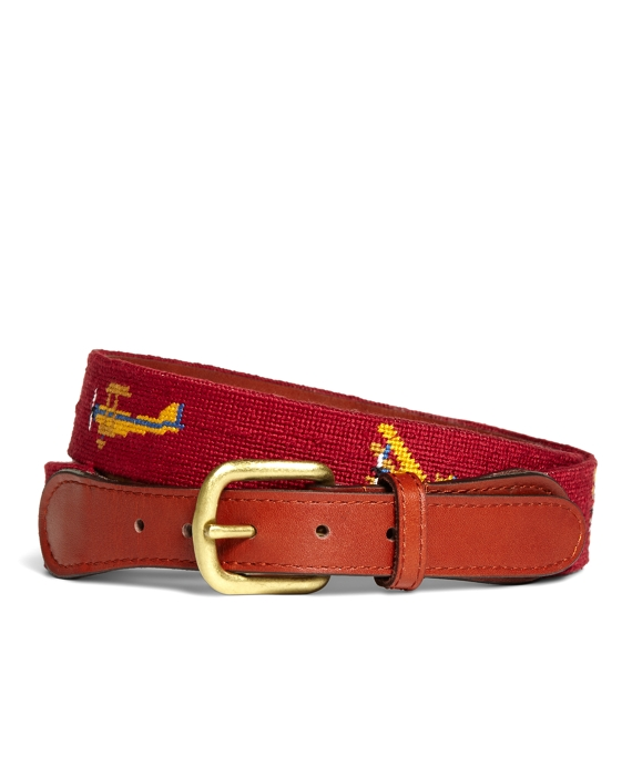 Airplane Needlepoint Belt Red