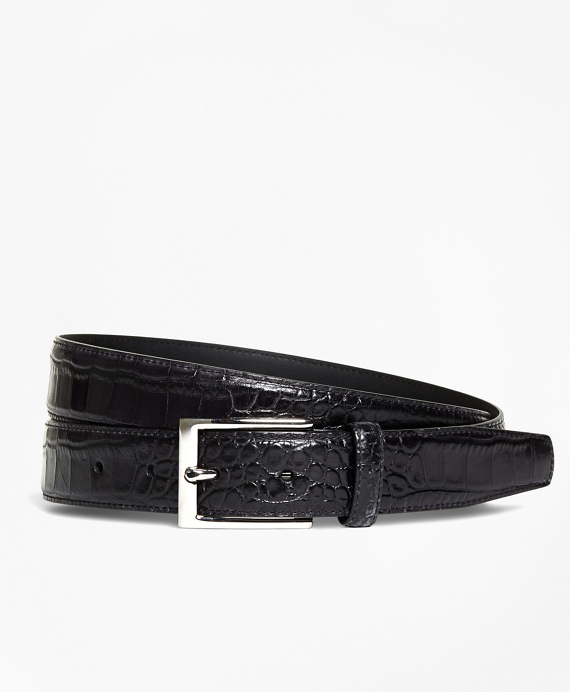 Embossed Leather Belt BLACK