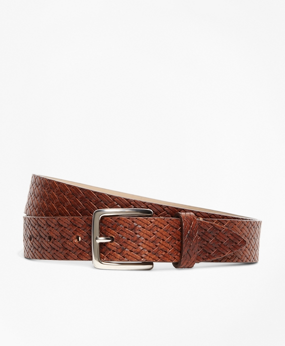 Embossed Leather Belt Brown