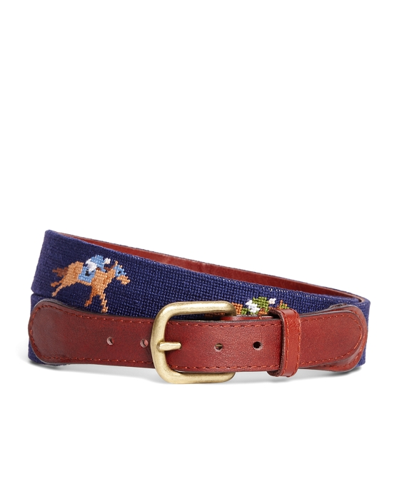 Needlepoint Horse Racing Belt Blue