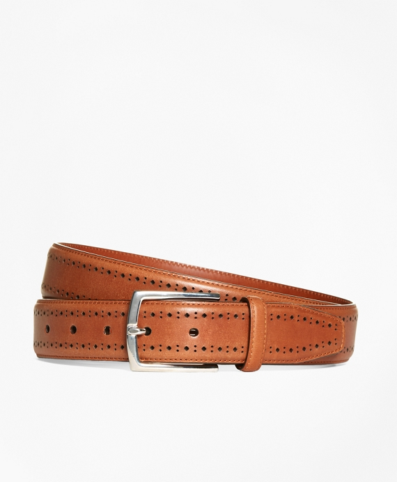 Leather Perforated Belt Cognac