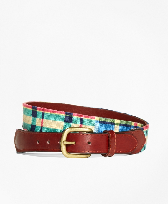 Needlepoint Patchwork Madras Belt Multi